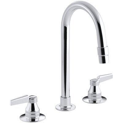 Triton Widespread Commercial Bathroom Sink Faucet with Gooseneck Spout with Vandal-Resistant Aerator and Rigid Connections, Requires Handles, Drain Not Included