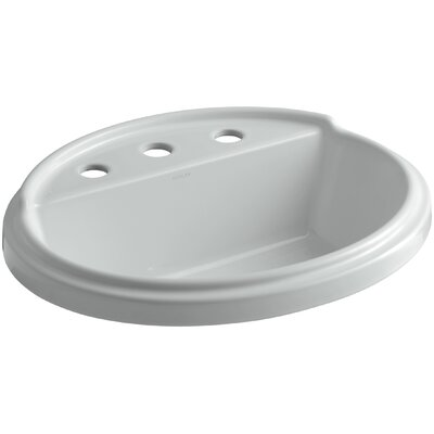 Tresham� Ceramic Oval Drop-In Bathroom Sink with Overflow Finish: Ice Grey, Faucet Hole Style: 4 Centerset