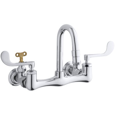 Triton Shelf-Back Double Wristblade Lever Handle Sink Faucet with Loose-Key Stops