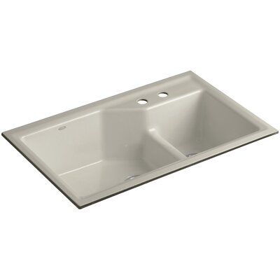 Indio 33 x 21-1/8 x 9-3/4 Under-Mount Smart Divide Large/Small Double-Bowl Kitchen Sink Finish: Sandbar, Faucet Drillings: 2 Hole