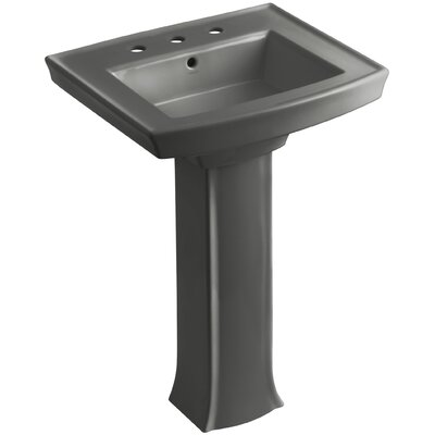 Archer 27 Pedestal Bathroom Sink Finish: Thunder Grey, Faucet Hole Style: 8 Widespread