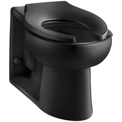Anglesey Floor-Mounted Wall-Outlet 1.6 GPF Flushometer Valve Elongated Bowl with Rear Inlet Finish: Black Black
