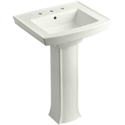 Archer 27 Pedestal Bathroom Sink Finish: Dune, Faucet Hole Style: 8 Widespread