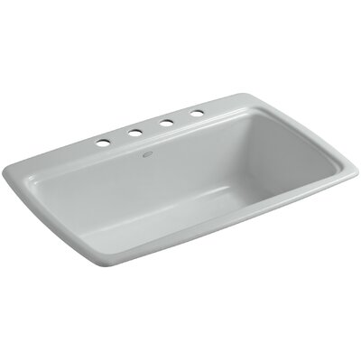 Cape Dory 33 x 22 x 9-5/8 Top-Mount Single-Bowl Kitchen Sink Finish: Ice Grey, Faucet Drillings: 4 Hole