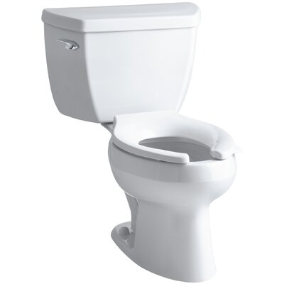 Wellworth Classic Two-Piece Elongated 1.0 GPF Toilet with Pressure Lite Flushing Technology, Left-Hand Trip Lever, Less Seat Finish: White