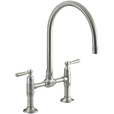 Hirisetwo-Hole Deck-Mount Bridge Kitchen Sink Faucet with 10-1/4 Gooseneck Spout and Lever Handles Finish: Brushed Stainless