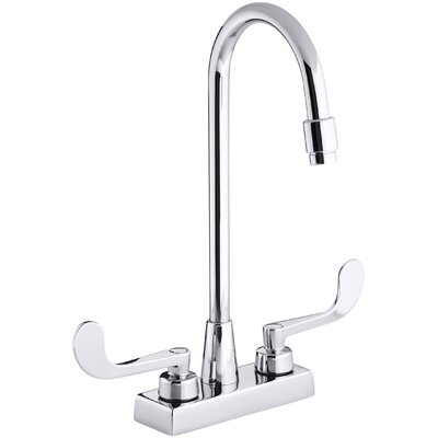 Triton Centerset Commercial Bathroom Sink Faucet with Gooseneck Spout and Wristblade Lever Handles, Drain Not Included