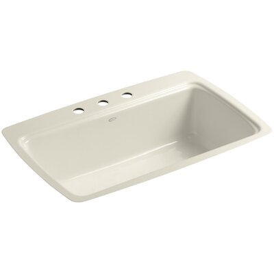Cape Dory 33 x 22 x 9-5/8 Tile-In Single-Bowl Kitchen Sink Finish: Almond, Faucet Drillings: 3 Hole