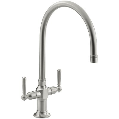Hirisesingle-Hole Kitchen Sink Faucet with 10 Gooseneck Spout and Lever Handles Finish: Brushed Stainless