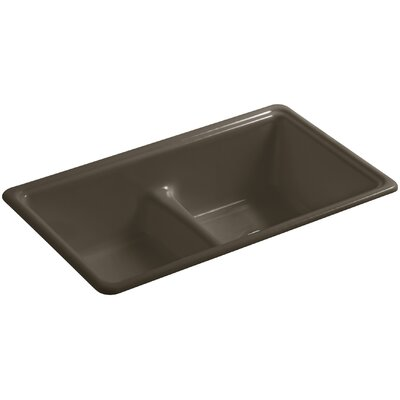 Deerfield 33 x 19-3/8 x 9-5/8 Top-Mount/Under-Mount Smart Divide Double-Equal Bowl Kitchen Sink Finish: Suede
