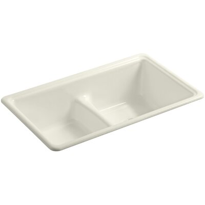 Deerfield 33 x 19-3/8 x 9-5/8 Top-Mount/Under-Mount Smart Divide Double-Equal Bowl Kitchen Sink Finish: Biscuit