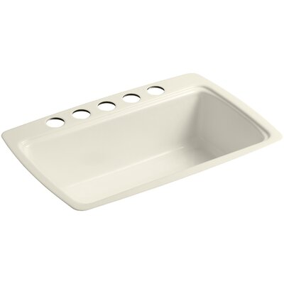 Cape Dory 33 x 22 x 9-5/8 Under-Mount Single-Bowl Kitchen Sink with 5 Oversize Faucet Holes Finish: Almond