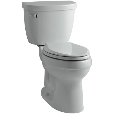 Cimarron Comfort Height Two-Piece Elongated 1.28 GPF Toilet with Aquapiston Flush Technology, Left-Hand Trip Lever and Insuliner Tank Liner Finish: Ice Grey