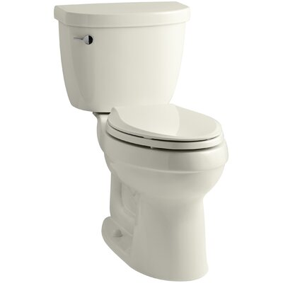 Cimarron Comfort Height Two-Piece Elongated 1.28 GPF Toilet with Aquapiston Flush Technology, Left-Hand Trip Lever and Insuliner Tank Liner Finish: Biscuit