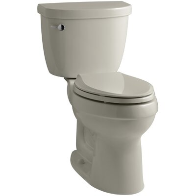 Cimarron Comfort Height Two-Piece Elongated 1.28 GPF Toilet with Aquapiston Flush Technology, Left-Hand Trip Lever and Insuliner Tank Liner Finish: Sandbar
