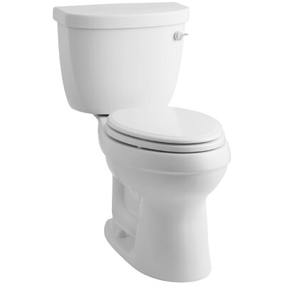 Cimarron Comfort Height Two-Piece Elongated 1.28 GPF Toilet with Aquapiston Flush Technology, Right-Hand Trip Lever and Insuliner Tank Liner Finish: White