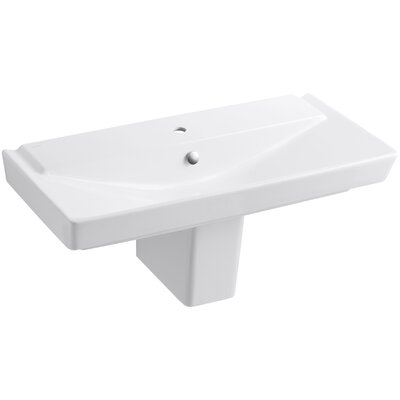 Reve Ceramic 40 Semi Pedestal Bathroom Sink with Overflow Finish: White