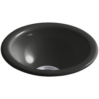 "Iron/Tones 14-1/2"" Diameter x 5-5/8"" Top-Mount/Under-Mount Single-Bowl Bar Sink Finish: Caviar K-6588-FP"