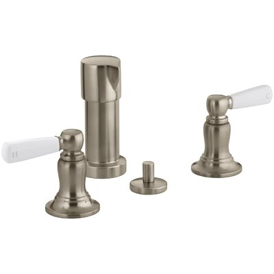 Bancroft Vertical Spray Bidet Faucet with White Ceramic Lever Handles Finish: Vibrant Brushed Bronze