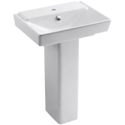 Reve Ceramic 24 Pedestal Bathroom Sink with Overflow Finish: White