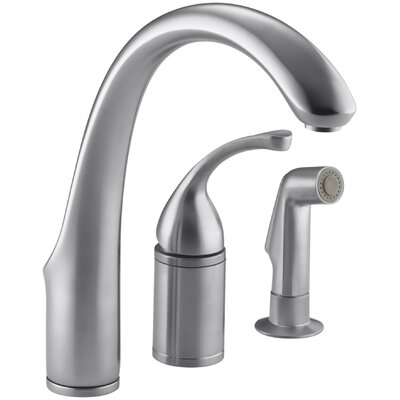 Fort� 3-Hole Remote Valve Kitchen Sink Faucet with 9 Spout with Matching Finish Sidespray Finish: Brushed Chrome
