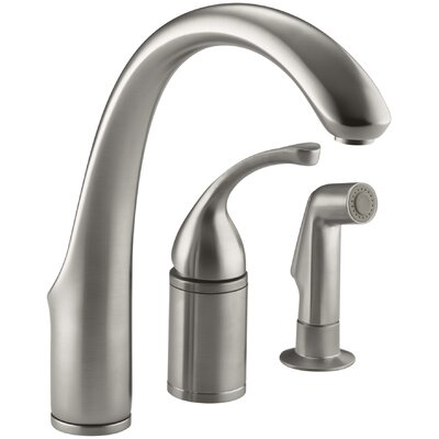 Fort� 3-Hole Remote Valve Kitchen Sink Faucet with 9 Spout with Matching Finish Sidespray Finish: Vibrant Stainless