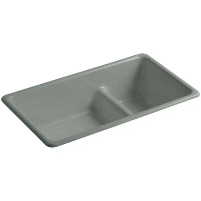 Iron Tones 33 x 18-3/4 x 9-5/8 Top-Mount/Under-Mount Smart Divide Large/Medium Double-Bowl Kitchen Sink Finish: Basalt