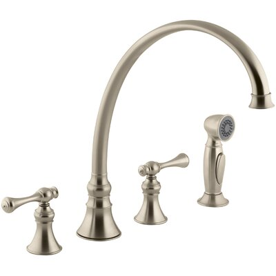 Revival Double Handle Kitchen Faucet with Side Spray Finish: Vibrant Brushed Bronze