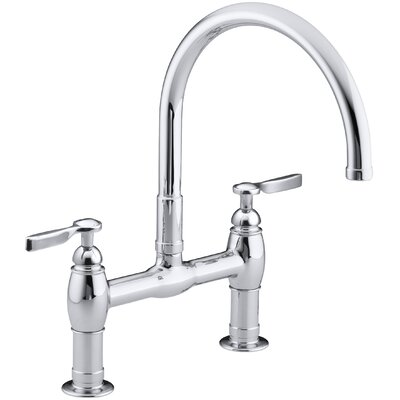 Parq Two-Hole Deck-Mount Kitchen Sink Faucet with 9 Gooseneck Spout and Tri Handles