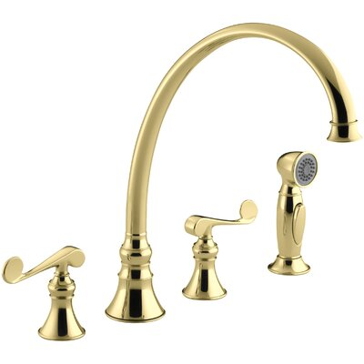 Revival 4-Hole Kitchen Sink Faucet with 11-13/16 Spout, Matching Finish Sidespray and Scroll Lever Handles Finish: Vibrant Polished Brass