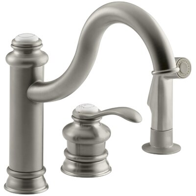 """Fairfax Three-Hole Remote Valve Kitchen Sink Faucet with 9-3/8"""" Spout and Matching Finish Sidespray Finish: Vibrant Brushed Nickel K-12185-BN"""