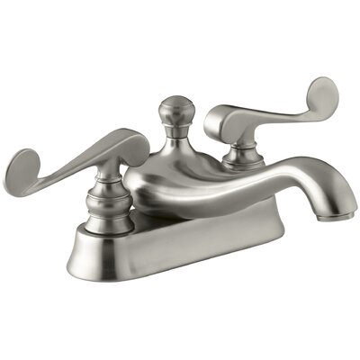 Revival Centerset Bathroom Sink Faucet with Scroll Lever Handles Finish: Vibrant Brushed Nickel