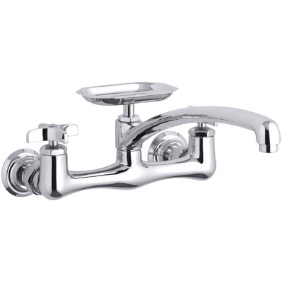 Clearwater Double Cross Handle Sink Supply Faucet with Swing Spout and Soap Dish Finish: Polished Chrome