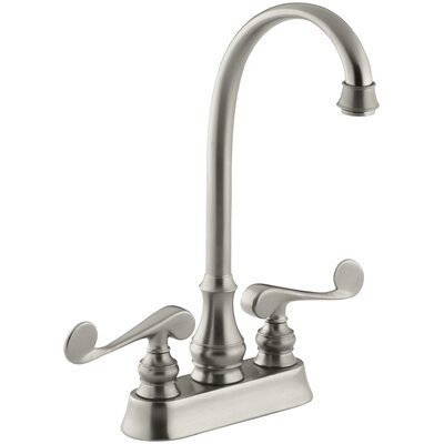 Revival Two-Hole Centerset Bar Sink Faucet with Scroll Lever Handles Finish: Vibrant Brushed Nickel