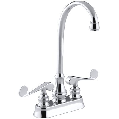 Revival Two-Hole Centerset Bar Sink Faucet with Scroll Lever Handles Finish: Polished Chrome