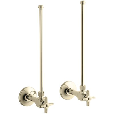 Pair Npt Angle Supplies with Stop, Cross Handle and Annealed Vertical Tube Finish: Vibrant French Gold
