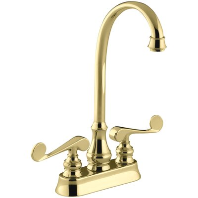 Revival Two-Hole Centerset Bar Sink Faucet with Scroll Lever Handles Finish: Vibrant Polished Brass