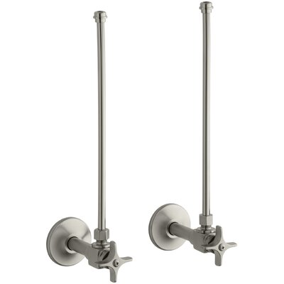 Pair Npt Angle Supplies with Stop, Cross Handle and Annealed Vertical Tube Finish: Vibrant Brushed Nickel