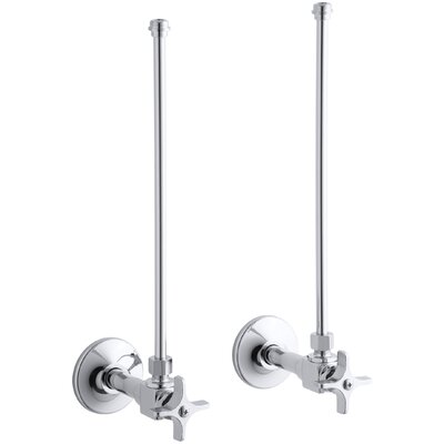 Pair Npt Angle Supplies with Stop, Cross Handle and Annealed Vertical Tube Finish: Polished Chrome