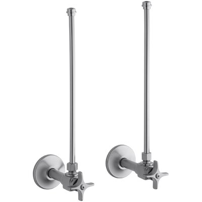 Pair Npt Angle Supplies with Stop, Cross Handle and Annealed Vertical Tube Finish: Brushed Chrome