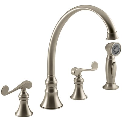 Revival 4-Hole Kitchen Sink Faucet with 9-3/16 Spout, Matching Finish Sidespray and Scroll Lever Handles Finish: Vibrant Brushed Bronze