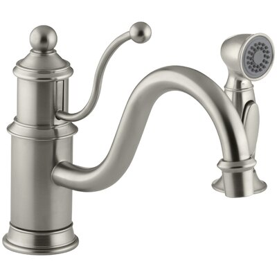 Antique Single-Hole Kitchen Sink Faucet with 8-7/8 Spout, Color-Matched Sidespray and Lever Handle Finish: Vibrant Brushed Nickel