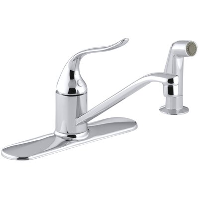 Coralais Three-Hole Kitchen Sink Faucet with 8-1/2 Spout, Matching Finish Sidespray and Lever Handle Finish: Polished Chrome