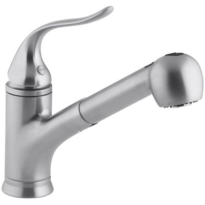 Coralais Pullout Single Handle Kitchen Faucet Finish: Brushed Chrome