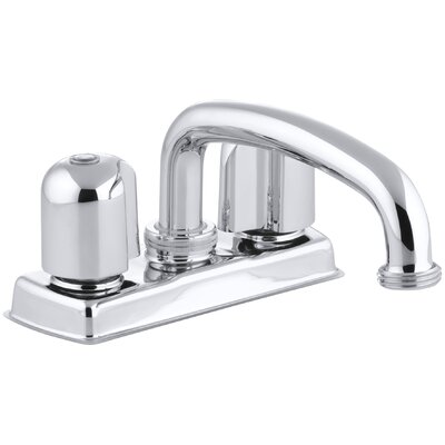 Trend Laundry Tray Faucet with Threaded Swing Spout and Metal Blade Handles