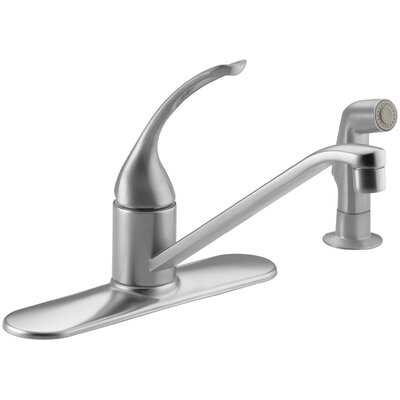 Coralais Three-Hole Kitchen Sink Faucet with 10 Spout, Matching Finish Sidespray and Loop Handle Finish: Brushed Chrome