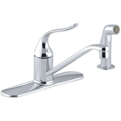 Coralais Three-Hole Kitchen Sink Faucet with 8-1/2 Spout, Matching Finish Sidespray, Ground Joints and Lever Handle
