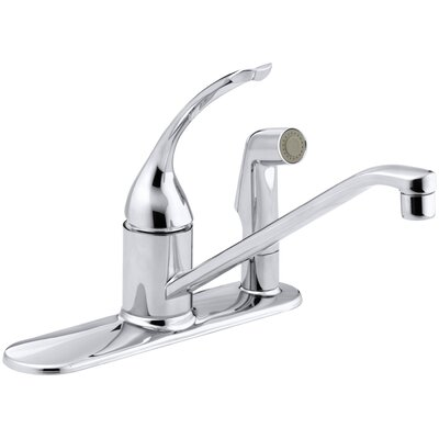 Coralais Three-Hole Kitchen Sink Faucet with 10 Spout, Matching Finish Sidespray Through Escutcheon and Loop Handle Finish: Polished Chrome