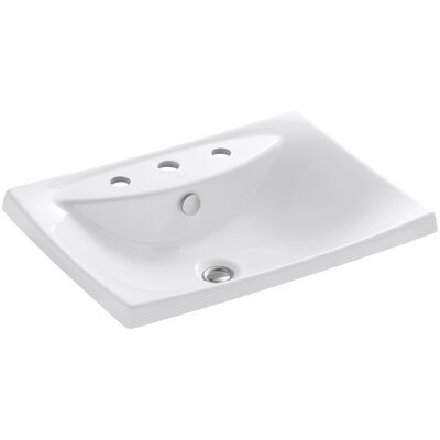 Escale Ceramic Rectangular Drop-In Bathroom Sink with Overflow Finish: White