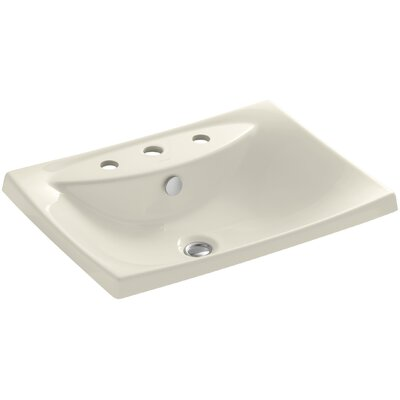 Escale Ceramic Rectangular Drop-In Bathroom Sink with Overflow Finish: Almond